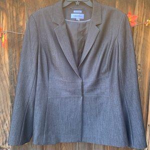 Calvin Klein grey snap button suit jacket